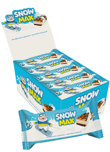 "Partly glazed and decorated sponge cake ""Snow Max"" with milk filling"