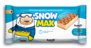 "Sponge cake ""Snow Max"" with milk filling partially glazed and decorated"