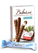 Milk-glazed wafer straws Vivaili with coconut